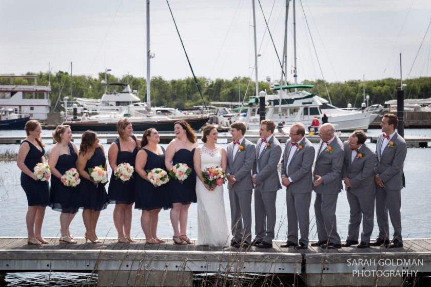 bridal party on dock of charleston yacht club