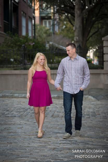 downtown charleston engaged couple